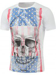 Distressed American Flag 3D Skull Print T-Shirt
