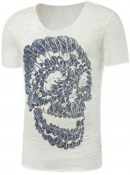 Skull Print Round Neck Short Sleeve T-Shirt