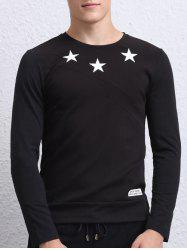 Star Print Long Sleeves Round Neck T-Shirt