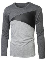 Manches longues col rond Paneled T-shirt -