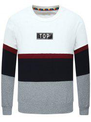Stripe Insert Long Sleeve Crew Neck Sweatshirt -