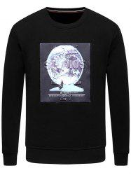 3D Planet Pattern Crew Neck Fleece Sweatshirt -