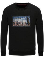 Building Printed Crew Neck Fleece Sweatshirt -