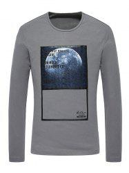 3D Moon Print Crew Neck Long Sleeve T-Shirt -