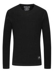 Rib Crew Neck Long Sleeve T-Shirt - BLACK 3XL