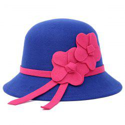 Dome Faux Wool Felt Floral Strappy Fedora Hat