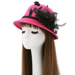 Feather Mesh Yarn Dome Faux Wool Fedora Hat