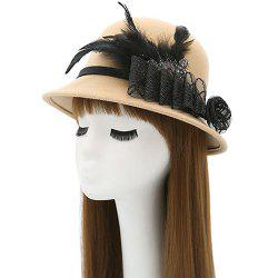 Feather Floral Mesh Embellished Fedora Hat - BEIGE