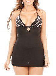 Criss Cross Stoned Cut Out Babydoll - BLACK M