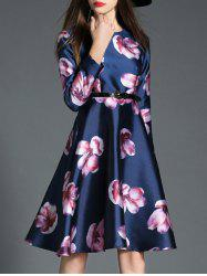Floral Long Sleeve Fit and Flare Dress