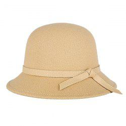 Winter Long Band Faux Wool Fedora Hat - CAMEL