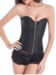 Skeletoned Zip Up Lace Spliced Strapless Corset Bra With G-String - BLACK