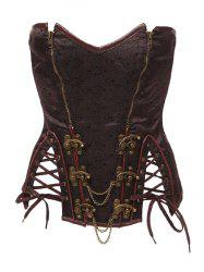 Strapless Skeletoned Lace-Up Corset With Panties - BROWN 5XL