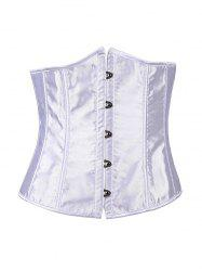 Hook Up Lace-Up Corset With Panties - WHITE 2XL