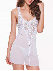 See-Through Lace Spliced Babydoll