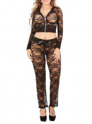 Hooded Cropped Lace Jacket and String Pants Loungewear
