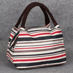Nylon Striped Pattern Color Block Tote Bag