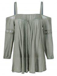 Openwork Cut Out Patched Blouse -