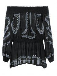 Elastic Waist Off The Shoulder Ethnic Blouse -