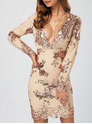 Sequined Embroidery Patched Sheath Dress -