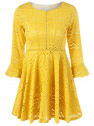 Bell Sleeve Sheer Lace Fit and Flare Dress -
