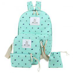 Color Spliced Animal Print Canvas Backpack
