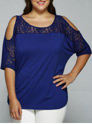 Plus Size Cold Shoulder Lace Patchwork Blouse - ROYAL BLUE