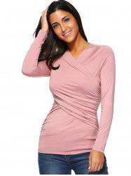 Ruched Fitted Surplice Blouse -