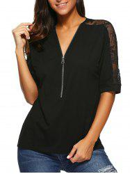 Lace Patchwork Zipper Up Blouse - BLACK