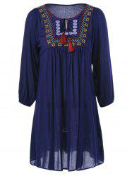 Embroidered Tie-Front Peasant Dress -