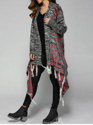 Knitted Rhombus Jacquard Fringed Cardigan - GRAY
