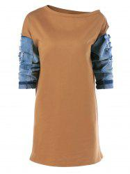 Ripped Patched 3/4 Sleeve Dress -