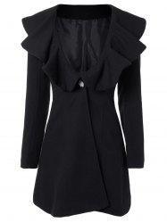 High Waist Flounce Single Breasted Wool Blend Coat - BLACK