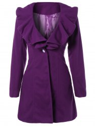 High Waist Flounce Single Breasted Wool Blend Coat - PURPLE
