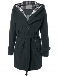 Hooded Belted Wool Blend Coat - BLACK GREY