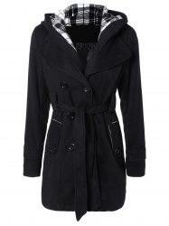 Hooded Belted Wool Blend Coat - BLACK