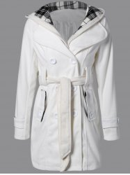 Hooded Belted Wool Blend Coat - WHITE