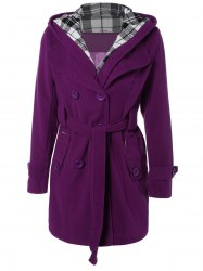 Hooded Belted Wool Blend Coat - PURPLE