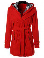 Hooded Belted Wool Blend Coat - RED