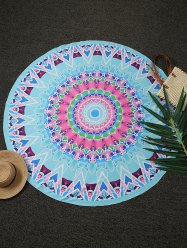 Geometric Print Round Beach Throw - LAKE BLUE