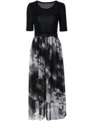 High Waist Spliced Chinese Painting Dress