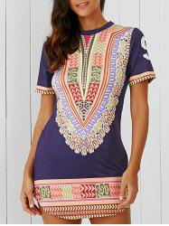 Printed Zippered Asymmetric Dress