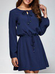 Long Sleeve A-Line Dress - PURPLISH BLUE