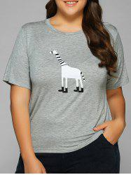 Cartoon Applique Short Sleeves T-Shirt - GRAY 4XL
