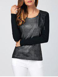 Ribbed Stretchy Fringed Knitwear -