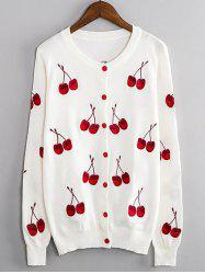 Cherry Embroidered Buttoned Cute Plus Size Cardigan - WHITE