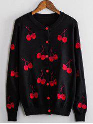 Cherry Embroidered Buttoned Cute Plus Size Cardigan - BLACK