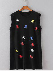 Pony Embroidered Mini Tank Dress -
