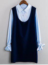 Striped Bowknot Shirt and Tank Dress Twinset -