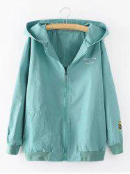 Hooded Letter Cartoon Embroidered Jacket - LIGHT BLUE 3XL
